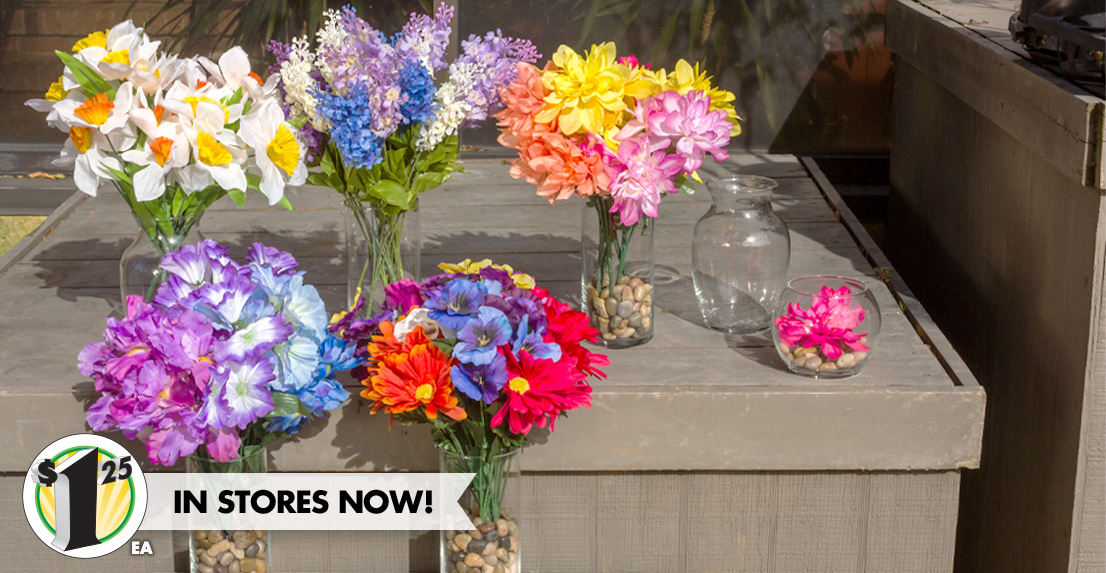 Faux Flowers, Vases, and more.